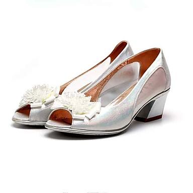 Mulheres Sapatos Tecido Tule Verão Sapatos formais Conforto Sandálias Salto Robusto Peep Toe Cristais para Escritório e Carreira Social