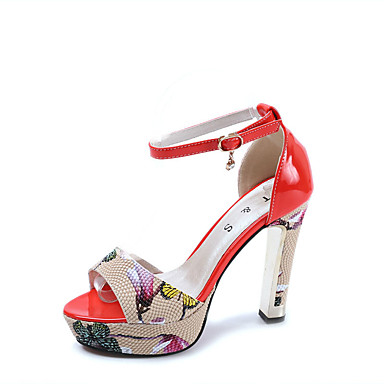 Naisten Kengät Kiiltonahka Kevät Kesä Comfort Sandaalit Paksu korko Avokkaat Pyöreä kärkinen Tekojalokivi Soljilla varten Juhlat Puku