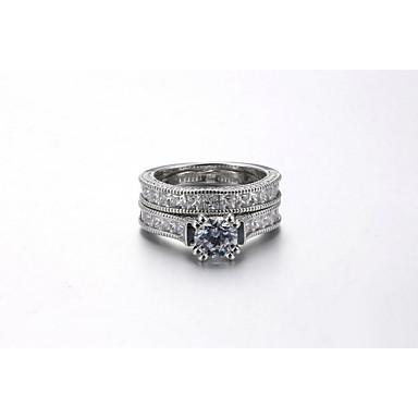 Damen Verlobungsring Ring Kubikzirkonia Luxus Elegant Modisch Kubikzirkonia Silber Kreisförmig Modeschmuck Hochzeit Party Verlobung Alltag