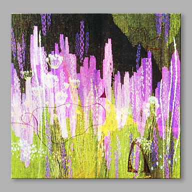 Pintados à mão Floral/Botânico Quadrada, Artistíco Flor Abstracto Moderno/Contemporâneo Tela de pintura Pintura a Óleo Decoração para casa