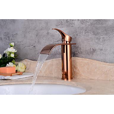 Moderne Mittellage Keramisches Ventil Einhand Ein Loch Rotgold , Waschbecken Wasserhahn
