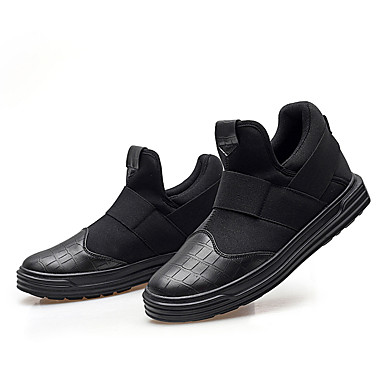 Mulheres Sapatos Couro Ecológico Primavera Outono Rasos Caminhada Sem Salto Ponta Redonda Elástico para Preto Preto e Dourado Preto e