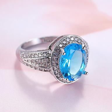 Dámské Prsten Zásnubní prsten Syntetický safír Luxus Klasické Módní Elegantní Syntetické drahé kameny Zirkon Kulatý Šperky Svatební Párty