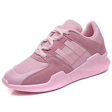 Mulheres Sapatos Couro Ecológico Primavera/Outono Conforto Tênis Caminhada Sem Salto Ponta Redonda Cadarço para Casual Preto Cinzento