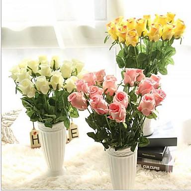 5 Stück 5 Ast Seide Rosen Tisch-Blumen Künstliche Blumen