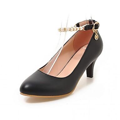 Mulheres Sapatos Sintético Couro Envernizado Couro Ecológico Verão Outono Saltos Caminhada Salto Agulha Dedo Apontado Pérolas Sintéticas