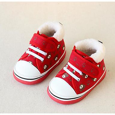 Tyttöjen kengät Canvas Kevät Syksy Ensikengät Tasapohjakengät Kävely Tarranauhalla Käyttötarkoitus Kausaliteetti Punainen Sininen