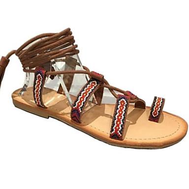Naiset Kengät PU Kesä Comfort Sandaalit Käyttötarkoitus Kausaliteetti Tumman ruskea
