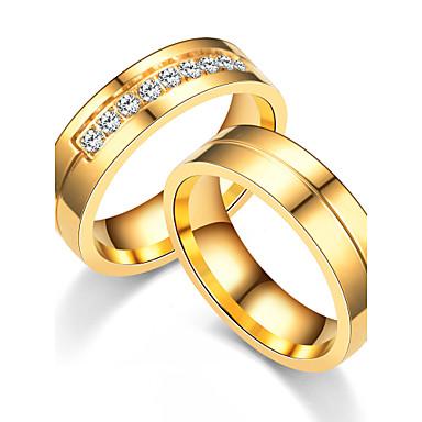 Casal Anéis de Casal Anel de noivado Anel de banda Zircônia cúbica Ouro Rose Rosa ouro Zircônia Cubica Aço Titânio Redonda Circulo