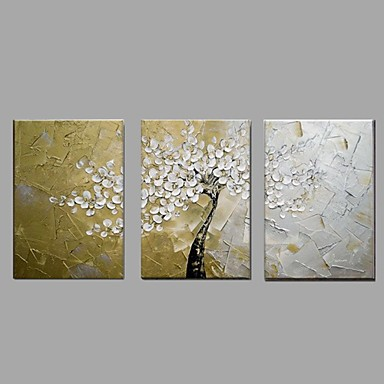 Handgemalte Blumenmuster/Botanisch Horizontal,Ländlich Modern Drei Paneele Leinwand Hang-Ölgemälde For Haus Dekoration