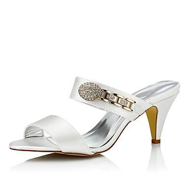 Women's Shoes Silk Spring / Summer Comfort Wedding Shoes Cone Heel Round Toe / Peep Toe Chain Ivory / Party & Evening