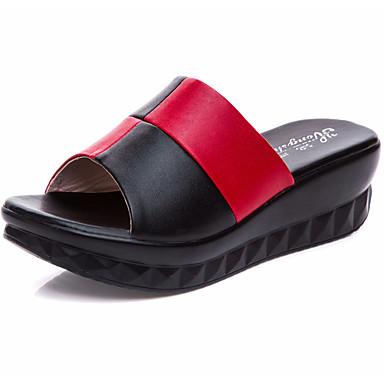 Naiset Kengät Nahka Kesä Comfort Sandaalit Kiilakantapää Avokärkiset korkokengät varten Kausaliteetti Valkoinen Musta Punainen