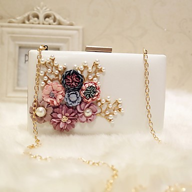 Women's Bags PU(Polyurethane) Evening Bag Flower Solid Colored Black / Blushing Pink / Peach