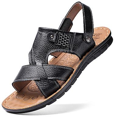Pánské Obuv Kůže Léto Pohodlné Sandály Chůze pro Venkovní Černá Hnědá Světle hnědá