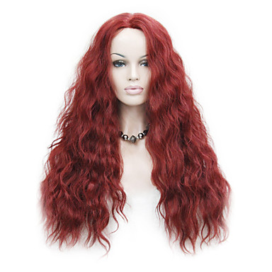 Peluca Lace Front Sintéticas Ondulado Pelo sintético Entradas Naturales Rojo Peluca Mujer Encaje Frontal Rojo