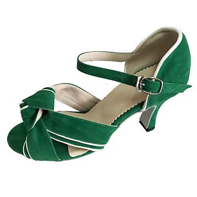 Mulheres Sapatos de Dança Latina Pele Nobuck Sandália Salto Personalizado Personalizável Sapatos de Dança Verde / Interior