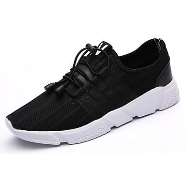 Homens sapatos Couro Ecológico Verão Conforto Tênis Caminhada Cadarço para Atlético Preto Cinzento Khaki