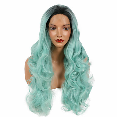 Synthetische Perücken Wellen Natürlicher Haaransatz Dunkler Haaransatz Gefärbte Haarspitzen (Ombré Hair) Blau Damen Spitzenfront
