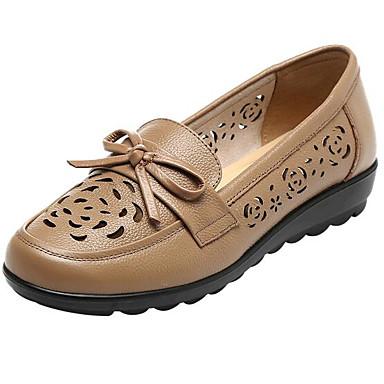 Naisten Kengät Nahka Kevät Comfort Tasapohjakengät varten Kausaliteetti Musta Ruskea Manteli