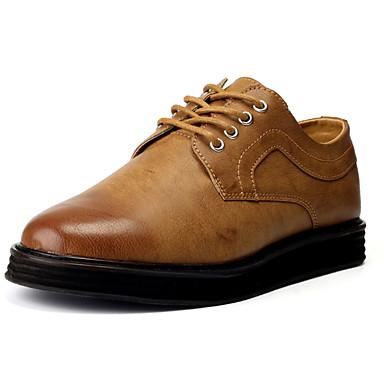 Homens sapatos Couro Ecológico Primavera Outono Conforto Oxfords para Casual Preto Cinzento Castanho Escuro