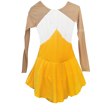 Šaty na bruslení Dámské Dívčí Buz Pateni Šaty Bílá + žlutá Spandex Štras Vysoká pružnost Výkon Bruslařské oblečení Ručně vyrobeno