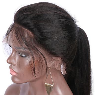 Echthaar Vollspitze Perücke Glatt Yaki 130% Dichte 100 % von Hand geknüpft Afro-amerikanische Perücke Natürlicher Haaransatz Medium Lang