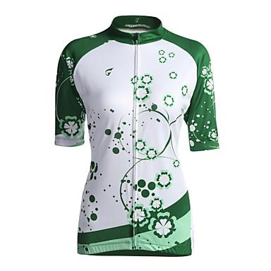 GETMOVING Γυναικεία Κοντομάνικο Φανέλα ποδηλασίας - Πράσινο Ανοικτό Ποδήλατο Αθλητική μπλούζα, Αναπνέει, Άνοιξη Καλοκαίρι, Coolmax