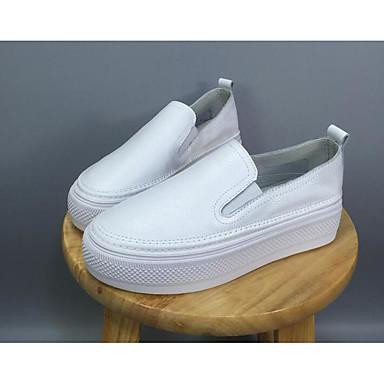 Naiset Kengät Nappanahka Nahka Kevät Comfort Mokkasiinit Käyttötarkoitus Päivittäin Valkoinen Musta