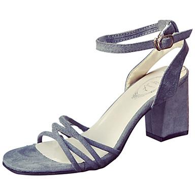 Mulheres Sapatos Couro Ecológico Verão Sandálias Caminhada Salto Baixo Ponta Redonda Ponta quadrada Combinação para Preto Cinzento