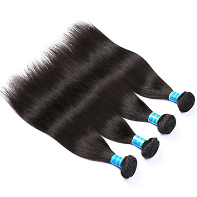 Brasilianisches Haar Glatt Unbehandeltes Haar Menschenhaar spinnt Menschliches Haar Webarten Natürlich Schwarz / Gerade