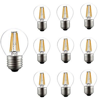 10pçs 4W 360lm E26 / E27 Lâmpadas de Filamento de LED G45 4 Contas LED COB Regulável Decorativa Branco Quente 220-240V