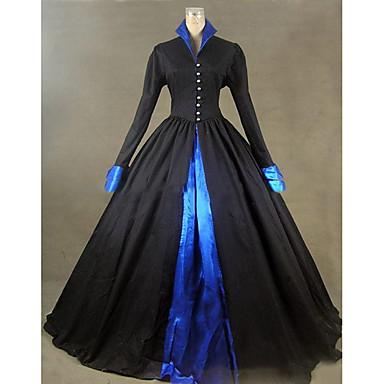 Viktorianisch Rokoko Kostüm Damen Kleid Maskerade Party Kostüme Schwarz Vintage Cosplay Other Satin Langarm Kappe Boden-Länge
