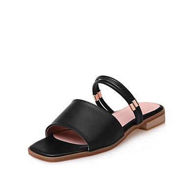 Mulheres Sapatos Couro Ecológico Verão Chinelos e flip-flops Caminhada Salto Baixo Ponta quadrada para Branco Preto Rosa claro
