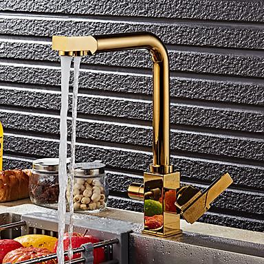 Moderne Art déco/Retro Modern Standard Spout Becken drehbar Keramisches Ventil Zwei Griffe Ein Loch Ti-PVD, Armatur für die Küche