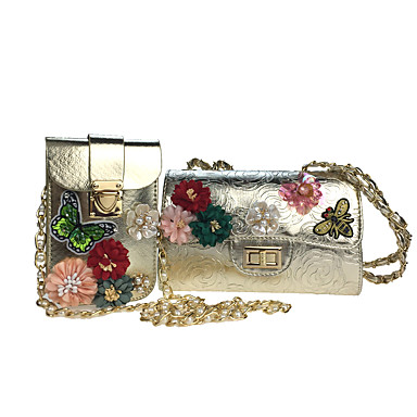 Women's Bags Poly urethane Bag Set 2 Pieces Purse Set Rhinestone / Beading / Sequin Gold / Silver