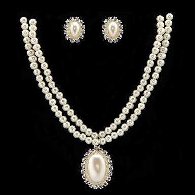 Mulheres Para Meninas Gema Imitação de Pérola Imitação de Pérola Conjunto de jóias - Estilo simples Redonda Branco Brincos Curtos Colares