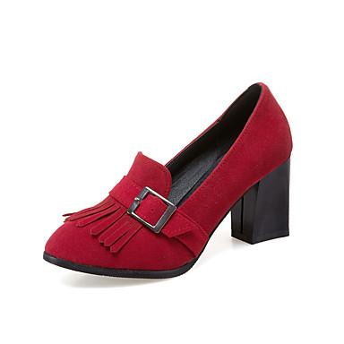Mulheres Sapatos Courino Primavera Verão Conforto Saltos Caminhada Salto Robusto Ponta Redonda Presilha para Casual Social Preto Cinzento