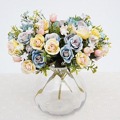 Jeden díl 1 Větev Polyester Růže Květina na stůl Umělé květiny