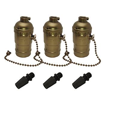 3 Pcs E26/E27 Edison Socket Base Retro Pendant Lamp Holder Aluminum Zipper Style Industrial Light Socket with Pull Chain On/Off Switch