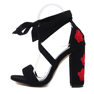 Damen High Heels Wildleder Sommer Herbst Schnürsenkel Blockabsatz Rot Blau 7,5 - 9,5 cm
