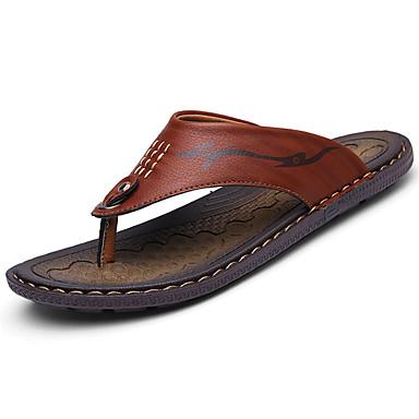 Miesten kengät PU Kevät Kesä Comfort Tossut & varvastossut Kävely varten Kausaliteetti Keltainen Khaki