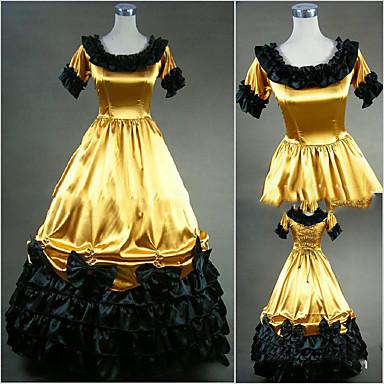 Retro Mittelalterlich Viktorianisch Gothic Kostüm Damen Kleid Maskerade Party Kostüme Vintage Cosplay Satin Kurzarm Kappe Boden-Länge