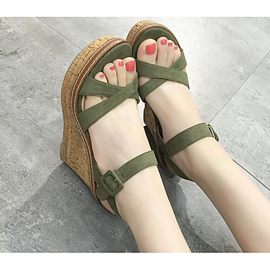 Naiset Sandaalit Mokkanahka Kevät Musta Harmaa Vihreä Tasapohja