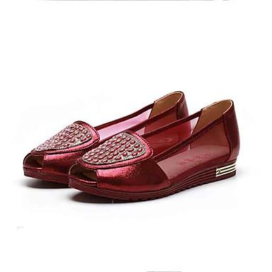 Mulheres Sapatos Tecido Tule Verão Conforto Mocassins e Slip-Ons Sem Salto Peep Toe Gliter com Brilho para Casual Escritório e Carreira