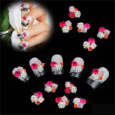 10 ks ploché dna diy nehty lepení vrták 3D dekorace na nehty