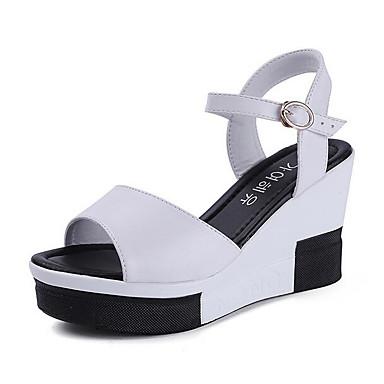 Naiset Sandaalit Kevät PU Valkoinen Musta Tasapohja