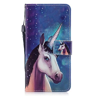 Capinha Para Apple iPhone 7 Plus iPhone 7 Porta-Cartão Carteira Com Suporte Flip Magnética Estampada Capa Proteção Completa Unicórnio