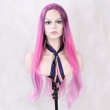 Damen Synthetische Lace Front Perücken Lang Gerade Rosa Lila Gefärbte Haarspitzen (Ombré Hair) Natürlicher Haaransatz Natürliche Perücke