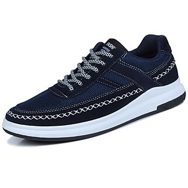 Homens sapatos Tule Camurça Primavera/Outono Solados com Luzes Tênis Cadarço para Casual Ao ar livre Branco Preto Azul