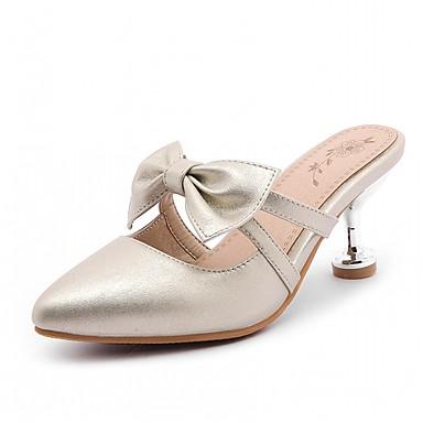 Mulheres Sapatos Courino Couro Ecológico Verão Outono Conforto Inovador Sapatos formais Saltos Caminhada Salto Agulha Dedo Apontado Laço